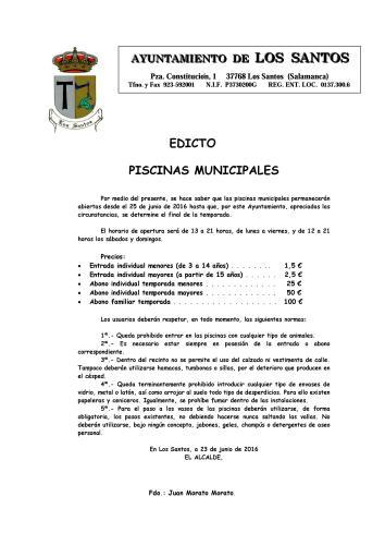 Edicto Piscinas Municipales 2016