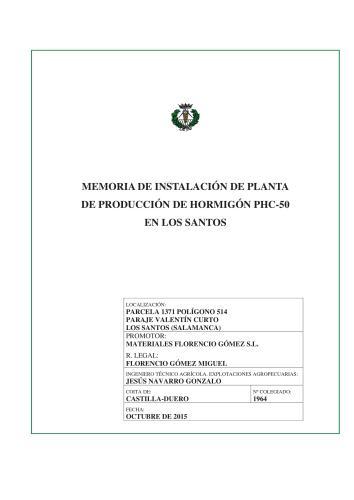PLANTA DE PRODUCCION DE HORMIGON EN LOS SANTOS MATERIALES FLORENCIO GOMEZ SL - Portada