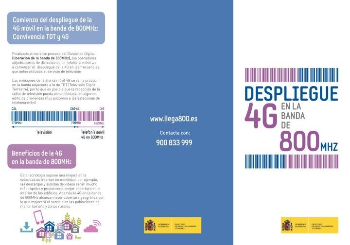 Despliegue 4G en la Banda de 800 MHZ - Convivencia TDT y 4G - Diptico 1