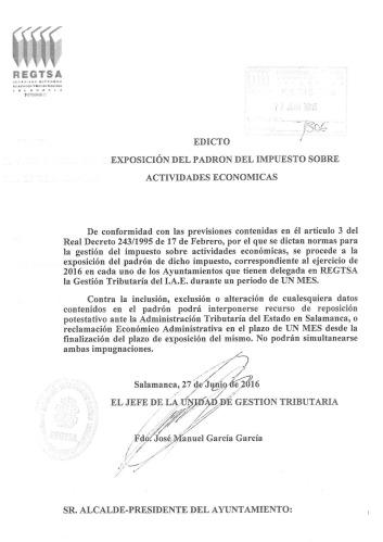 Edicto de Exposición del Padrón del I.A.E.