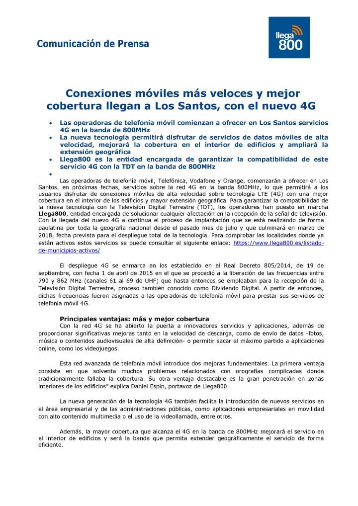Servicios 4G en banda de 800 MHZ - Comunicación de Prensa 1